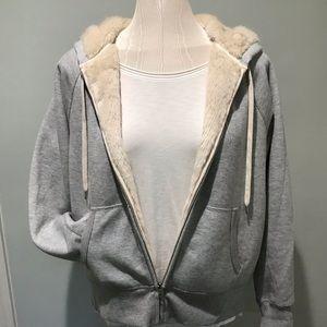 JCREW size L Grey faux fur lined sweatshirt hoodie
